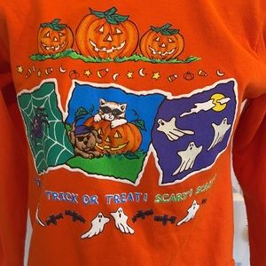 Vintage Halloween sweatshirt trick-or-treat girl size 10 12 pumpkin spider ghost